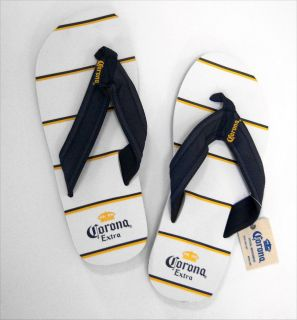 CORONA BEER CASUAL WHITE STRIPED SANDALS FLIP FLOPS NEW MENS 8 9