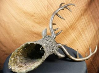 Signed Carl Kauba Life Size Elk Head Bust Bronze Stag Sculpture Statue