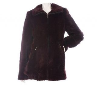 Dennis Basso Textured Faux Fur Zip Front Coat —