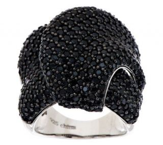 70 ct tw Black Spinel Bold Pave Wrapped Ring, Sterling —