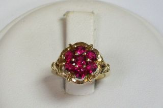Estate 10K Yellow Gold Created Ruby Cluster Ring