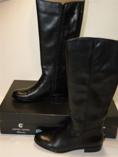 Corso Como Classics Stony Black Burhish Calf Leather Boots S21416 Sz 8