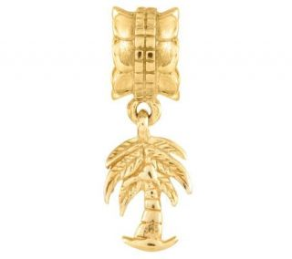 Prerogatives 14K Yellow Gold Plated Sterling Palm Tree Bead   J302877
