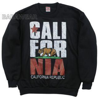California Bear Crew Neck sweat Shirt Black Cali Republic Oversize 5D