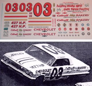 Spencer #03 Cottrell Bakery 1963 Chevy Impala 1/24 scale DECALS