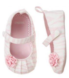 NWT Gymboree Zebra Baby pink zebra print crib shoes 02  approx 3 6 mo