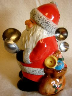 Christmas Santa Measuring Spoon Holder 6 Tall 4 Spoons New Cracker