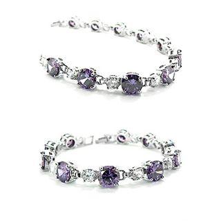Fashion Jewelry Lady Gift Purple Amethyst Gold GP Bracelet Hand Chain