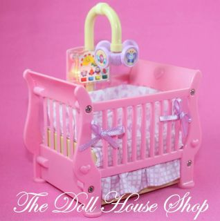 Loving Family Dollhouse Pink Baby Doll Crib Cradle Musical Nursery