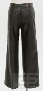 Costume National Black Seamed Leather Wide Leg Pants Size 46
