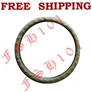 New Genuine Leather Ergonomic Contour Beige Steering Wheel Cover Small