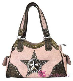 Western Star Stud Rhinestone Croc Purse Handbag Pink