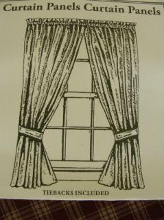 sturbridge wine tan plaid country curtain panels 63