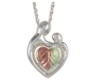 Black Hills Mother and Child Heart Pendant, Sterling/12K Gold