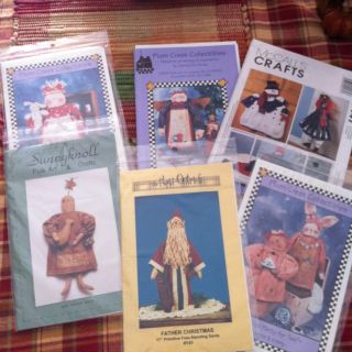 Lot Of 6 Country Folk Art Primitive Doll Patterns. Never Used.