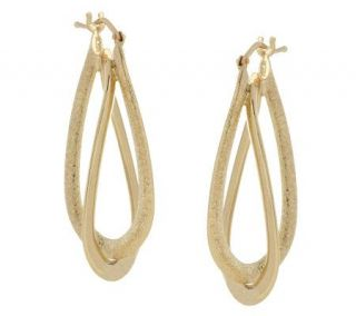 Polished & Textured Double Oval Hoop Earrings 18K Gold —