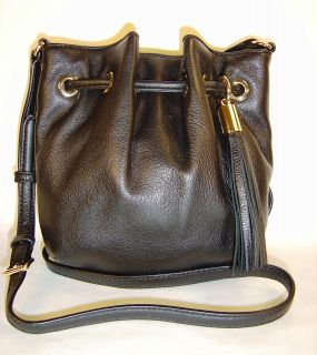 Michael Kors Small Crossbody Ring Tote PEBBLED Leather Bag $168 Black