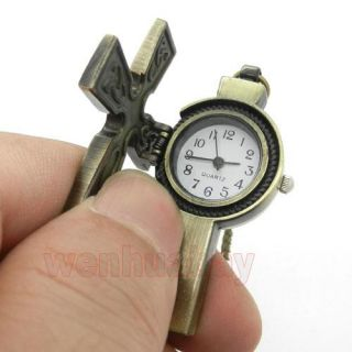 Vintage Antique Bronze Cross Quartz Pocket Watch Necklace Pendant Gift