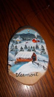 Vermont Wood Painting Covered Bridge Stream Barn Steeple Snow Mountain