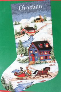 Village Christmas Cross Stitch Stocking Kit Victorian