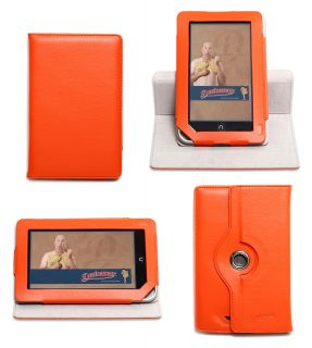 360 Rotating Orange Nook Tablet Color Case Vertical Stand Cover