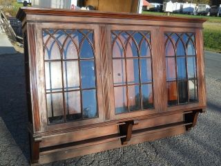 Large Antique Gothic Wall Cupboard Individual Pane Windows Virginia