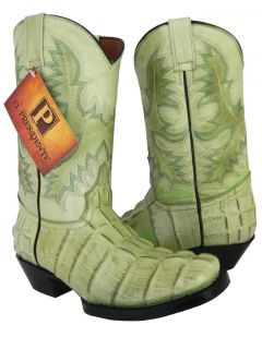 PISTACHIO LEATHER SQUARE TOE CROCODILE TAIL WESTERN COWBOY BOOTS