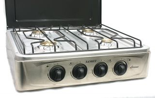 Cooktop 4 Burner Gas Stove Range XL Stainless Steel with Cover