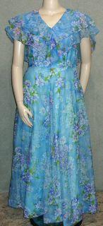 Vtg 60s Blue Purple Floral Chiffon Gown Long Dress Big Flouncy Cape