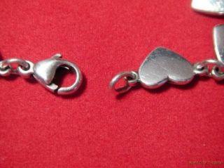 James Avery Sterling Silver Heart Link Bracelet Ret