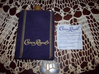 CROWN ROYAL STAINLESS STEEL FLASK SUEDE WHISKY LIQUOR CONTAINER MINT W