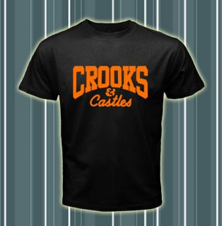 Crooks and Castles Logos Series Men Black T shirt tee Size S 2XL