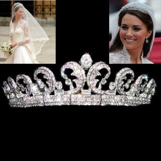 Replica Kate William Royal Swarovski Crystal Wedding Hair Crown Tiara