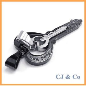 couple of cz s steel heart key pendant necklace