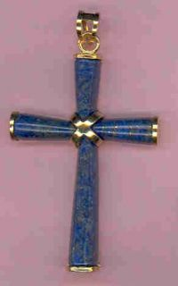 large gold tone blue lapis cross this cross is made of natural lapis