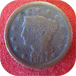 1851 Braided Hair Liberty Head Large Cent Penny Coin