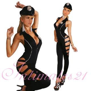 New Sexy Cop Girl Police Costume Romper Jumpsuit Catsuit Hat Stripper