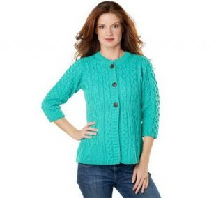 Merino Wool Empire Waist Aran Stitch 3/4 Sleeve Cardigan   A92282