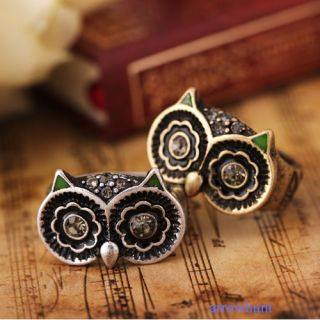 Sliver Bronze Plated Crystal Owl Ring Rings for Men Women