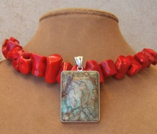 Coral Red Natural Necklace Big Art Deco Gemstone Chunky Blue Turquoise