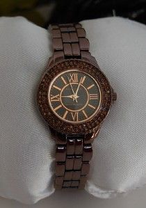 New Anne Klein Womens Brown ion Plated Swarovski Crystal Bracelet
