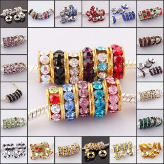Wholesale Lots 10mm Crystal Findings Charm Big Hole European Beads Fit