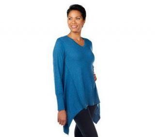LOGO by Lori Goldstein Cotton Cashmere Asymmetrical Hem Sweater
