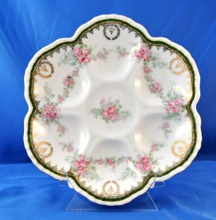 Well Rose Pattern Oyster Plate Imperial Crown China Austria Used OP14