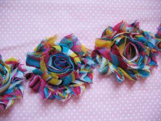 Yard Rainbow Multi color Chiffon Flower Shabby Rose Trim CH005