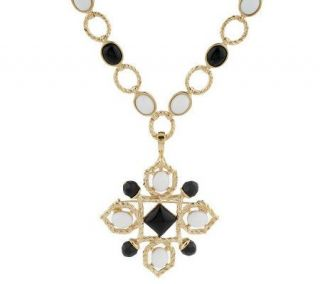 Luxe Rachel Zoe Cabochon Link Necklace with Pin/Enhancer   J154771