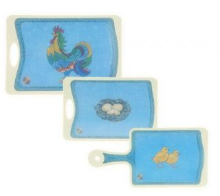 Blue Jean Chef Set of 3 Deco Rooster Cutting Boards with Microban