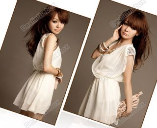 Corea Chiffon Sexy Deep V Neck Sleeveless Mini Dress