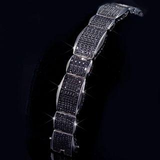Mens 14k Black Gold Fin vs Lab Diamond XL Big Bracelet Fashion Hip Hop
