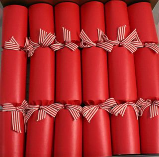Holiday Traditional English Christmas Crackers RED&WHITE GROSGRAIN
